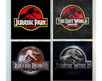 jurassic park coasters set 4 tile coasters halloween movie poster dinosaurs scary horror dinos