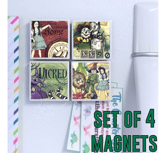 Magicien d'Oz tuile aimants - lot de 4 - Dorothy, Toto, Wiz film, méchante sorcière