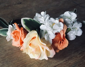 Floral hair piece - orange, yellow and white