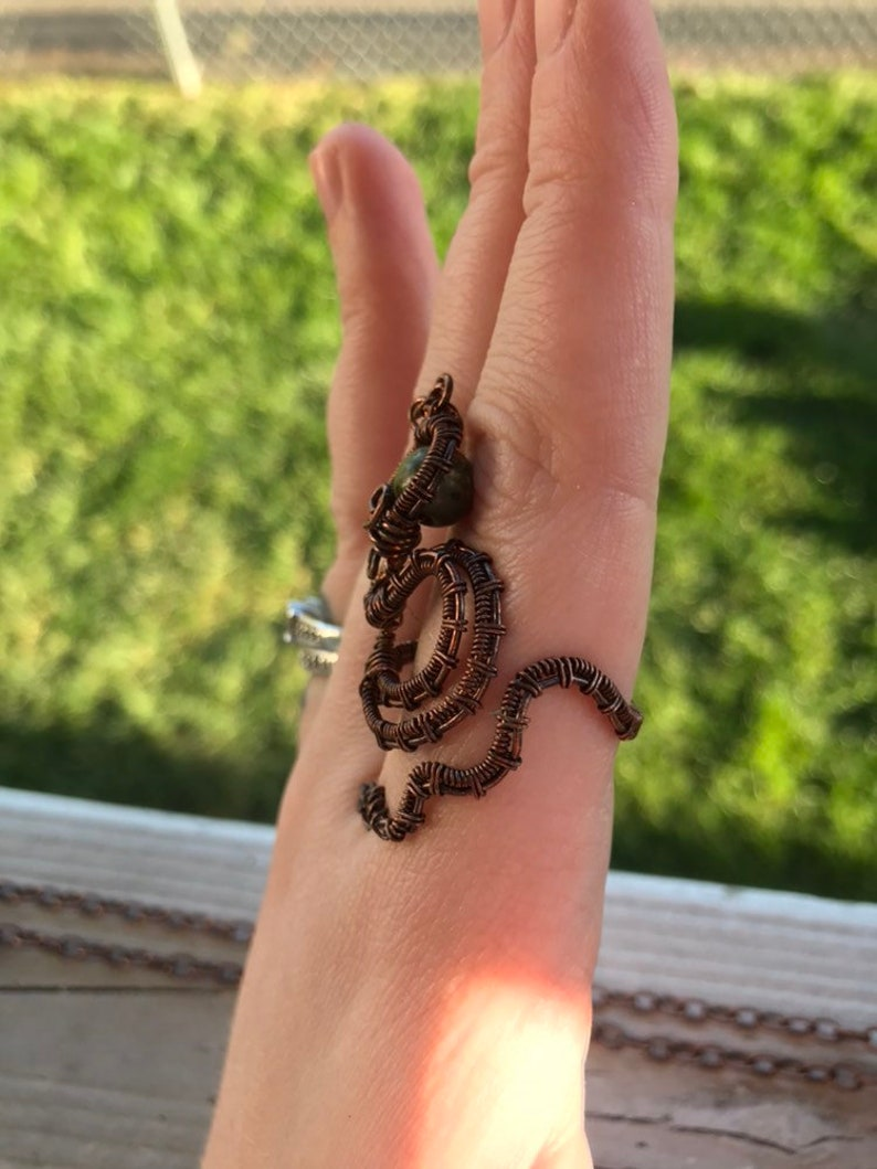 Unakite Snake Wire Wrapped Adjustable Ring