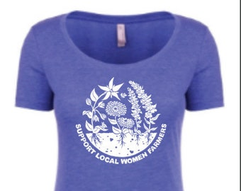 Support Local Women Farmers - Scoop Neck Tee in Borage Blue