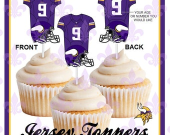 Minnesota Vikings - 12 Double sided and Personalized Football Cupcake  Toppers - Jersey style cupcake toppers ea083ae6c