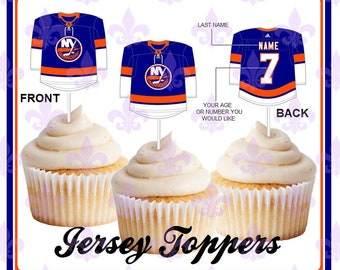 New York Islanders - 12 Double sided and Personalized Hockey Cupcake  Toppers - Jersey style cupcake toppers b51a22479