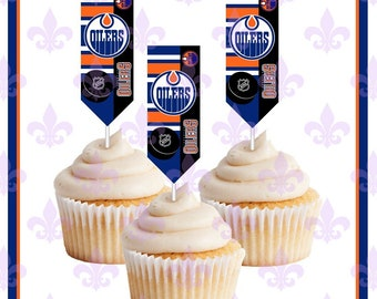 Edmonton Oilers - Hockey Toppers - Cupcake Toppers - 12 Banner style cupcake  toppers - cake picks f3652e0b0