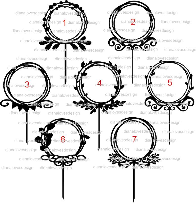 files for cricut cake topper svg wreath floral circle svg monogram frame svg cake topper frame svg wedding frame svg happy birthday
