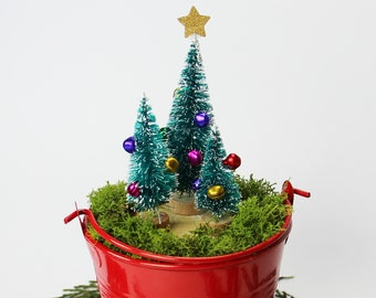 miniature christmas trees with container bottle brush tree fairy garden metal bucket holiday decor christmas decor christmas gift - Outdoor Metal Christmas Trees