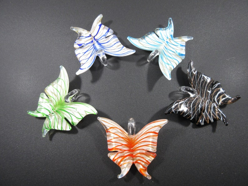 Orange and White Striped Butterfly Handmade Glass Lampwork Focal Piece Pendant Supply