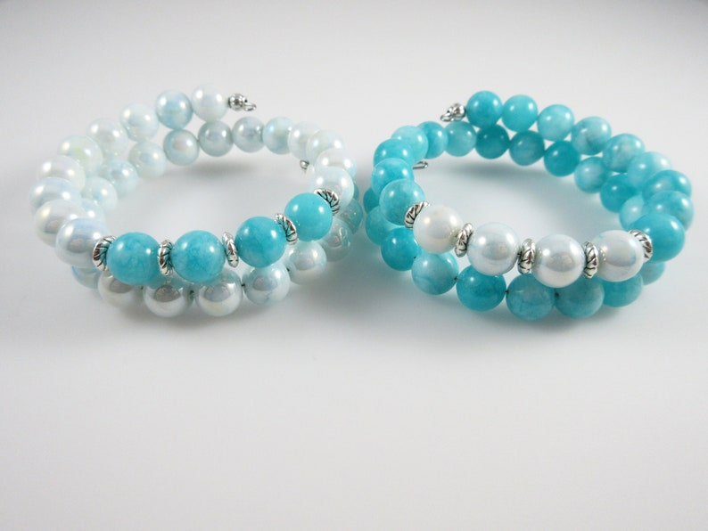 Distance Love Aqua Agate Stone and Teal Pearl Beads Memory Wire Bracelet Friendship