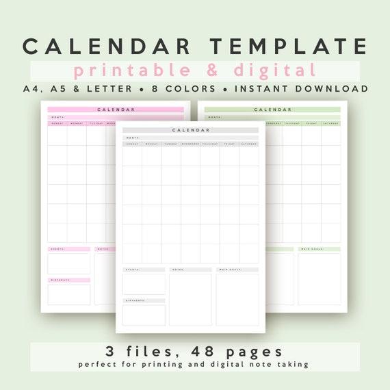Calendar Template Vertical Portrait A4 A5 Letter Etsy