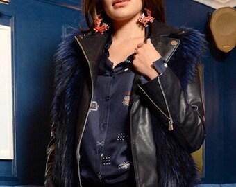Blue  Leather Fur Biker Jacket