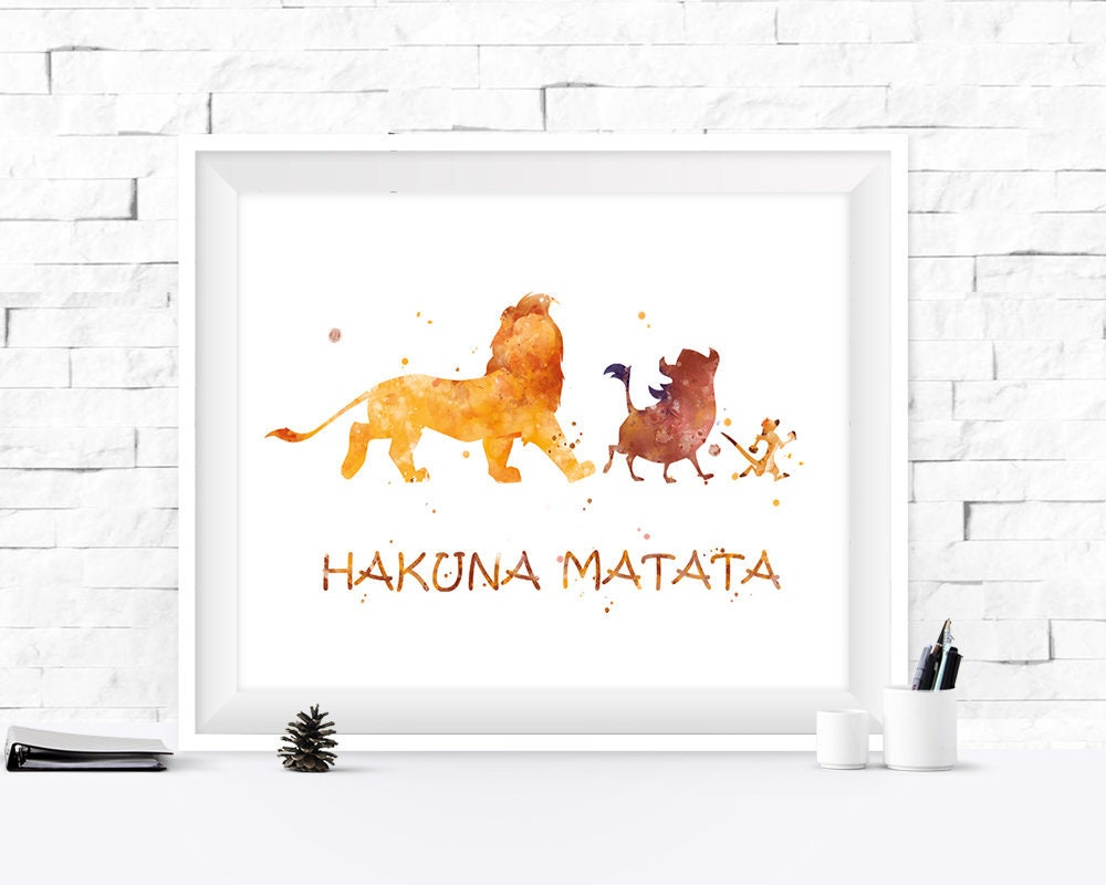 Hakuna Matata Art Print Lion King Wall Art Nursery ...