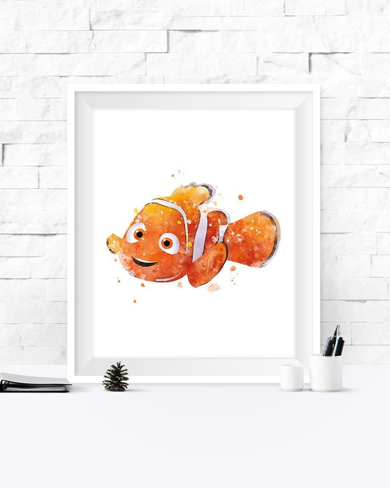 Nemo Print Watercolor Printable Nemo Poster Art Print Disney Etsy