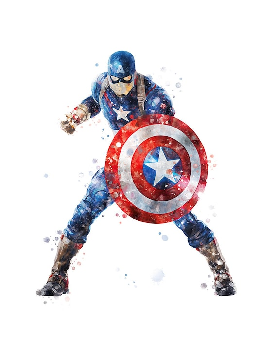 image regarding Captain America Printable named Captain The united states Print Watercolor Poster Printable Artwork Print Printable Little ones Nursery Decor Wall Artwork Superhero Wall Decor Prompt Obtain