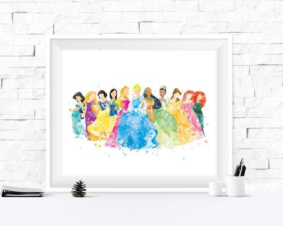 Disney Princess Art Print Cinderella Pocahontas