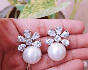 American diamond Earrings with Pearl drops