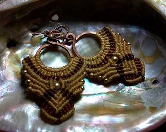 macrame earrings and copper
