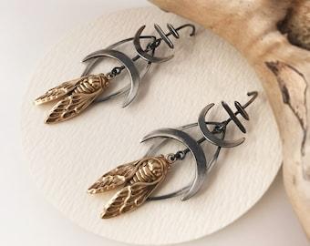 Double Moon Cicada Bar Earrings - Bronze and Sterling Silver Hook Earrings