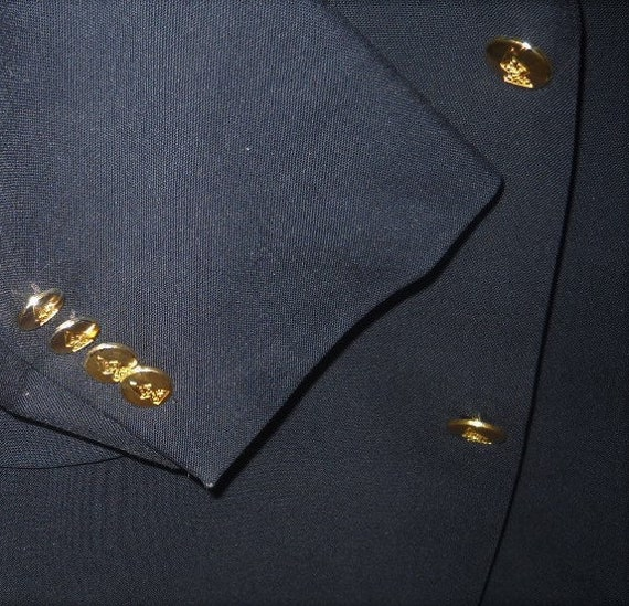 42r Austin Reed Blazer 2 Gold Button Dark Navy Wool Single Etsy