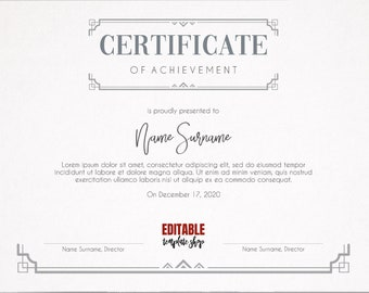certificate template etsy