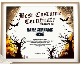Costume Certificate Etsy