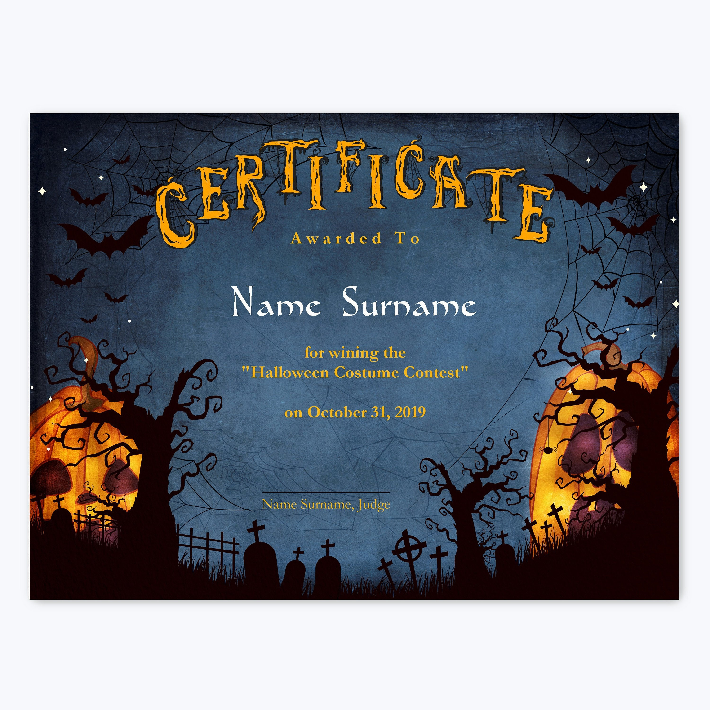 Halloween Multipurpose Editable Certificate Template Editable Etsy