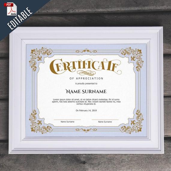 Elegant Marriage Certificate Template Golden Edition: Luxury Elegant EDITABLE Certificate Template Editable Gold