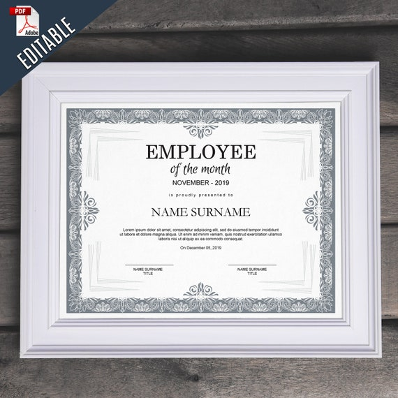 Employee Of The Month EDITABLE Template Editable Award