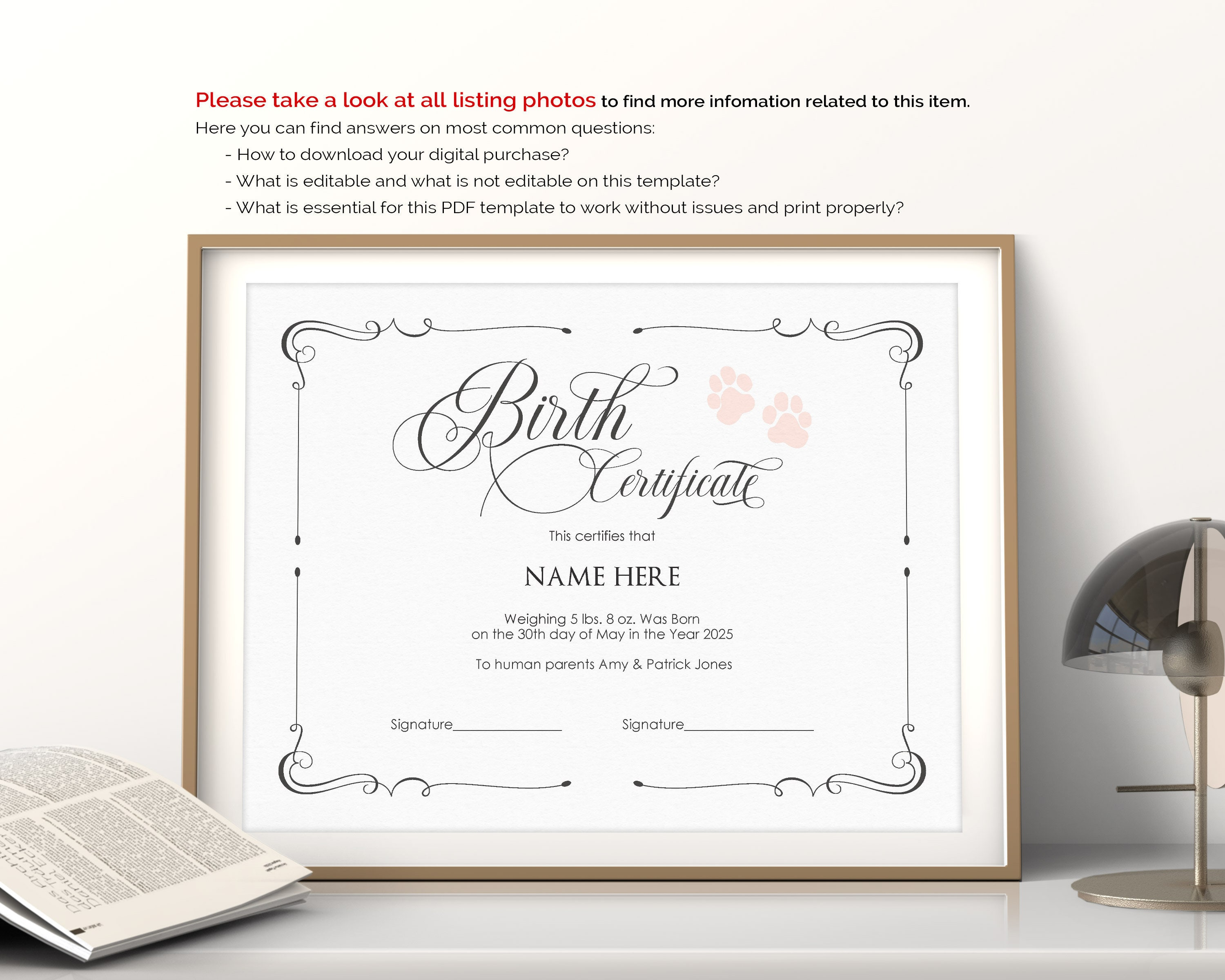 Editable Puppy Birth Certificate Template Printable Paw Etsy
