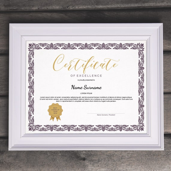 Elegant Multipurpose Editable Certificate Template Editable Etsy