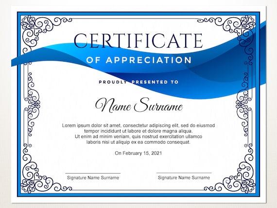 Editable Certificate Corporate Award Certificate Of Appreciation Certificate Template Blank Certificate Elegant Certificate Download
