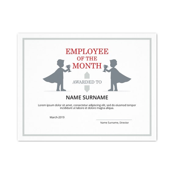 photograph relating to Printable Employee of the Month Certificate identified as Personnel of the Thirty day period EDITABLE Certification Template Editable Printable Worker of the Thirty day period Template PDF Immediate Down load skuD049