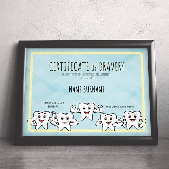 Dentist Certificate Of Bravery Editable Kids Certificate Etsy