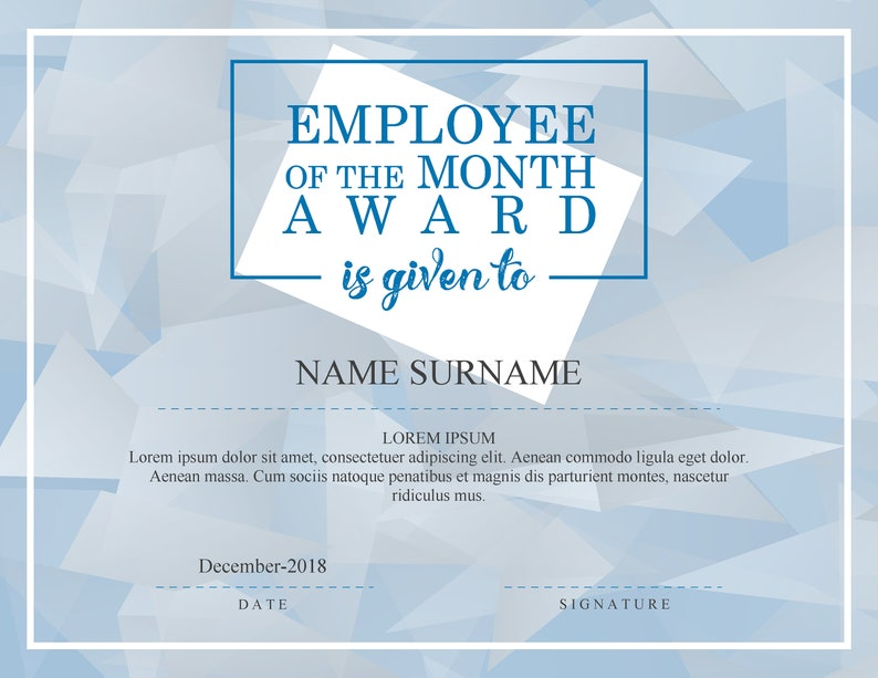 graphic regarding Printable Employee of the Month Certificate identified as Staff of the Thirty day period Award EDITABLE FILLABLE Degree PDF Template Printable Fast Obtain skuD020