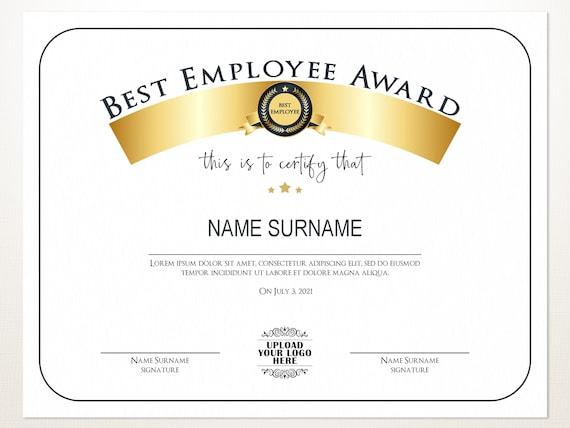 Best Employee Award Employee Award Template Editable Logo Etsy