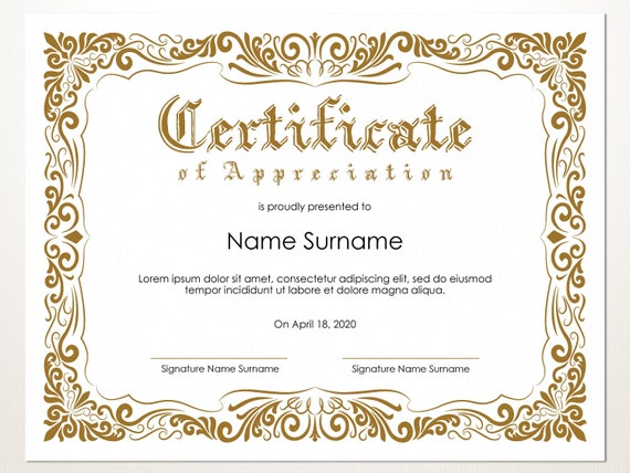 Certificate Template Editable from i.etsystatic.com