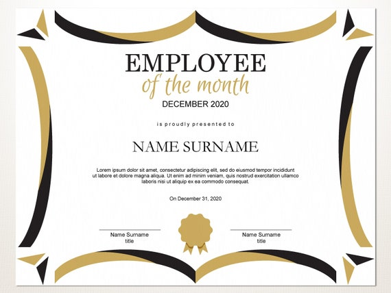 Employee Of The Month Template | Employee Of The Month Editable Template Editable Award Employee Of The Month Printable Template Pdf Instant Download D106