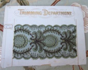 Original Antique Victorian Edwardian Black lace salesman sample card  R Plauen German Ketzel /& Co.