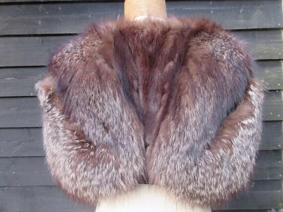 Vintage fox fur stole, 1930s fox fur cape, butterf