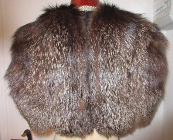 Vintage silver fox fur cape, fur stole, shoulder c
