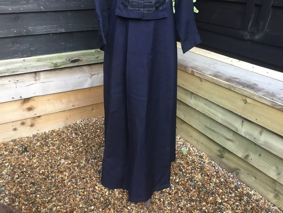 Edwardian 1910s dark blue heavy wool skirt Silk li
