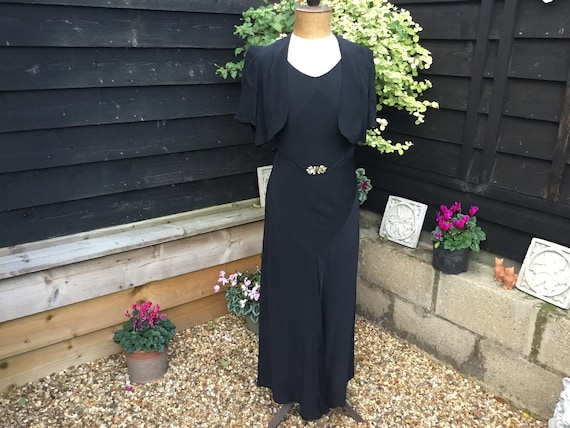 Vintage 1930s black crepe dress sleeveless with Bo