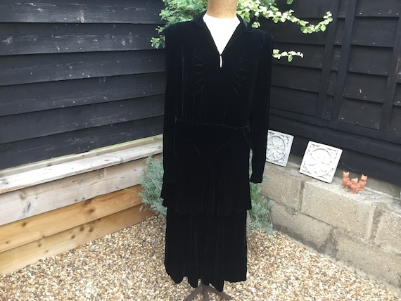 Vintage 1940's black velvet peplum dress