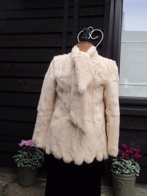 Vintage cream fur jacket scallop hem, tie scarf ne