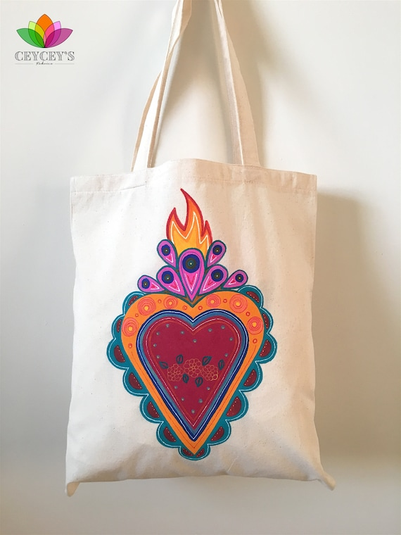 22ebc5c8d4d8 Hand Painted and Handmade Canvas Tote Bag, Sacred Heart Design 15,5x13,5  inch | Mexican Heart | Shoulder Bag | Flaming Heart | Summer Bag