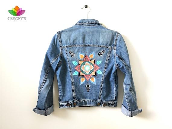 Hand Painted Womans Jean Jacket Small Size Boho Jean Jacket Etsy