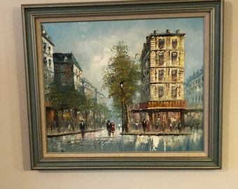 Vintage Original Impressionist Style Oil Painting Paris Street and cafe singed by T. Carson