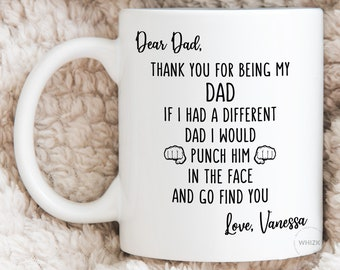 Details about  /Dear Dad Gift Personalized Mug Funny Fathers Day Mug Punch Kick Him