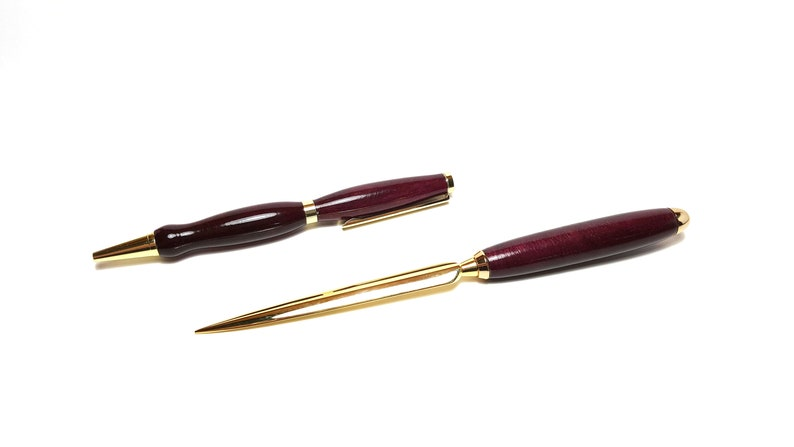 Handcrafted Purpleheart Pen and Letter Opener Set This fine writing instrument would make a great gift for an executive or office staff