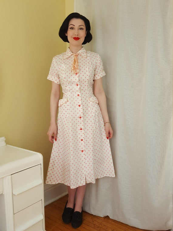 late 1940s pink polka dot button front dress