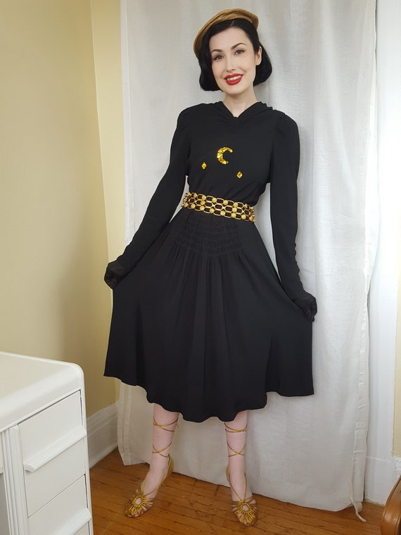 1930s Black and Gold Moon Crepe Dress